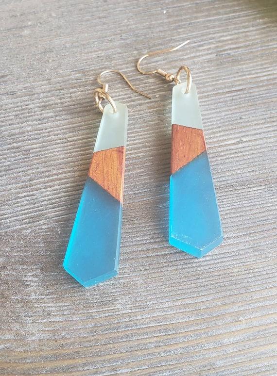 SORAIA blue frosted agate Silver 925 earrings