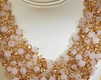 Pink crystal cluster necklace