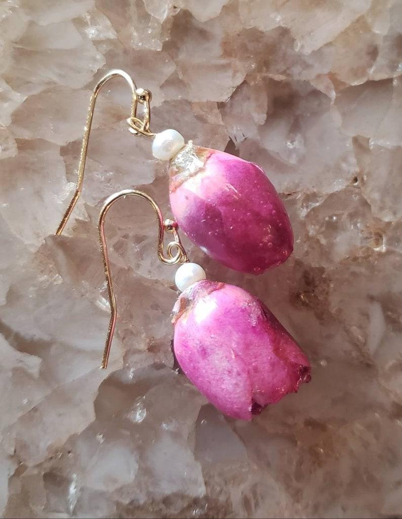 Natural Rose Floral Theme Earrings Real flower earrings Rosebud Earrings