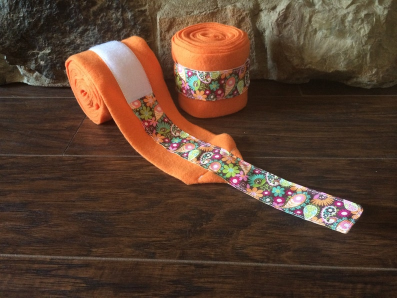 Orange Floral Ribbon Trimmed polo wraps