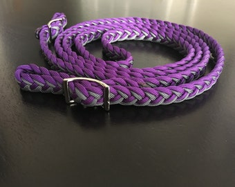 Purple and Gray paracord reins