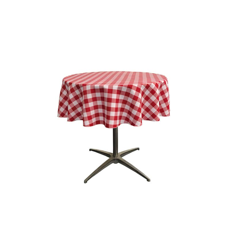 Made in the USA. Checkered Tablecloth 51-Inches andor 58-Inches Round