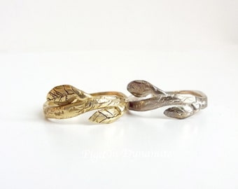 Leaf & Twig Sterling Silver/Brass Stackable Ring/Stacking Rings/ Stackable Leaf Rings