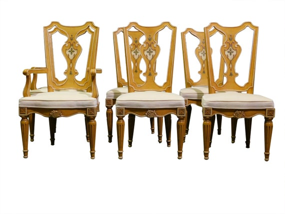 Set Of 6 Henredon Dining Chairs Fiddle Back Muted Gold Shipping Delivery Cost Extra Contact For Quote PA5247DC