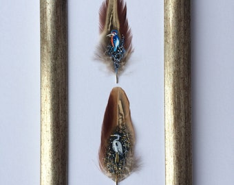 Kingfisher and Heron on Feathers. Hand painted feather.Feather painting.