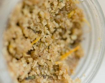 bare | skin softening | organic face scrub | oats | almonds | calendula | lavender | rose | cleansing grains