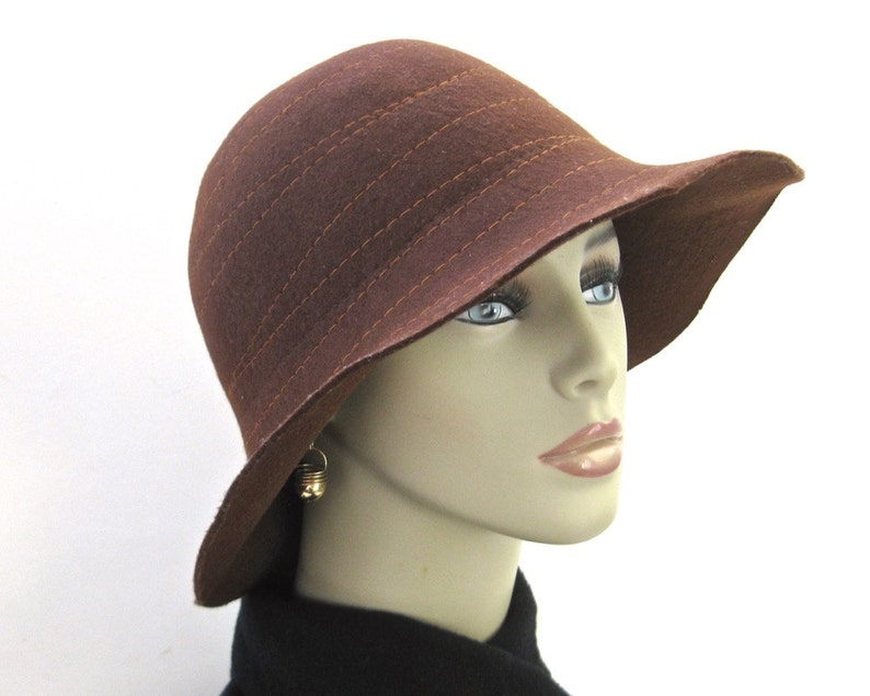 38bb4f025 Vintage Brown Wool Felt Hat • The Hat Company by Filippo Catarzi • Stitched  Slouch Hat Made in Italy