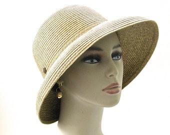 Vintage Wide Brim Straw Hat High Crown • LIKE NEW White Stag Ladies Sunhat