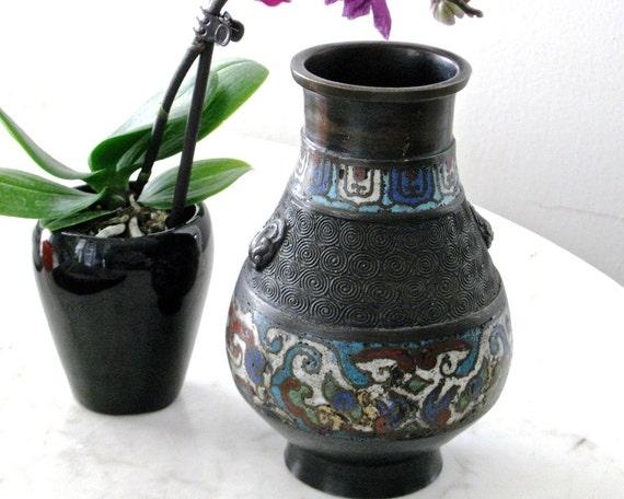 Vintage Bronze Champleve Vase Signed Japan Lion Head Etsy