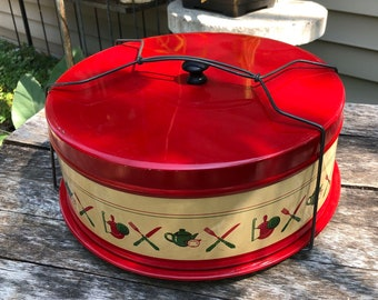 Metal Cake Carrier • Wire Handle • 1940s Red Yellow Green