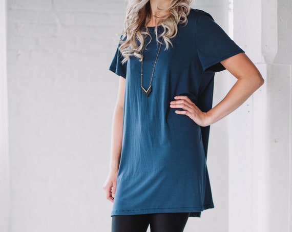 Marine Blue Bamboo T-Shirt // Blue Dress// Black Tunic// Made from Bamboo Fabric // Made in CANADA
