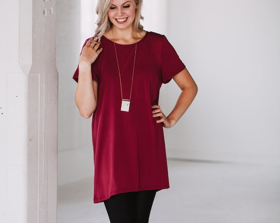Berry Sangria Bamboo T-Shirt // Red Dress// Black Tunic// Made from Bamboo Fabric // Made in CANADA