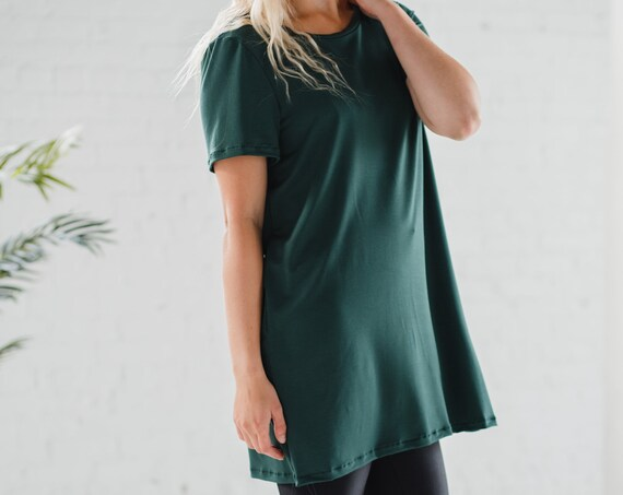 Forest Green Bamboo T-Shirt Dress // Dress // Tunic // Made from Bamboo Fabric // Made in CANADA