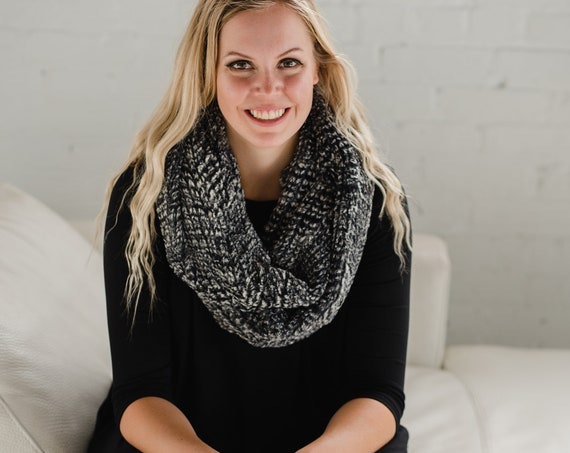 Grey & Black Faux Fur Circle Scarf // Infinity Scarf // Made in Canada