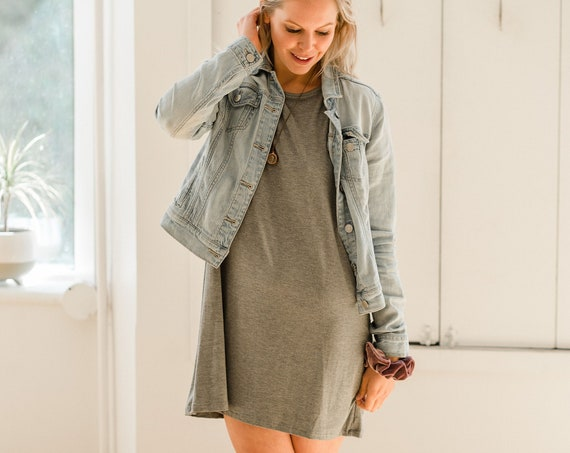 Light Grey Bamboo T-Shirt Dress // Made from Bamboo Fabric // Made in CANADA