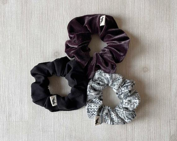 Scrunchies // Black & Purple // Set of Three Big Scrunchies // Made in Canada
