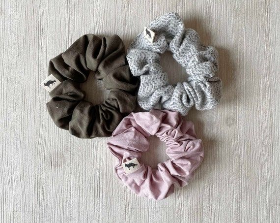 Scrunchies // Olive & Blush // Set of Three Big Scrunchies // Made in Canada