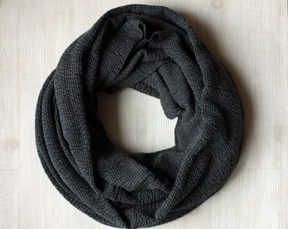 Grey with Black Texture Circle Scarf, Infinity Scarf, Women's infinity scarf