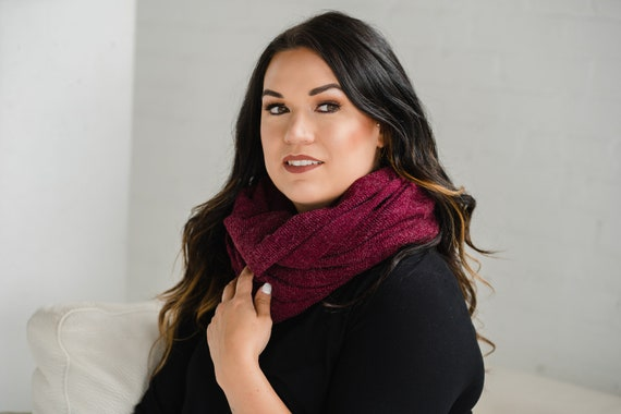 Dark Red Ribbed Circle Scarf // Infinity Scarf // Made in Canada
