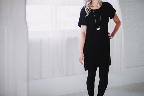 Black Bamboo T-Shirt // Black Dress// Black Tunic// Made from Bamboo Fabric // Made in CANADA