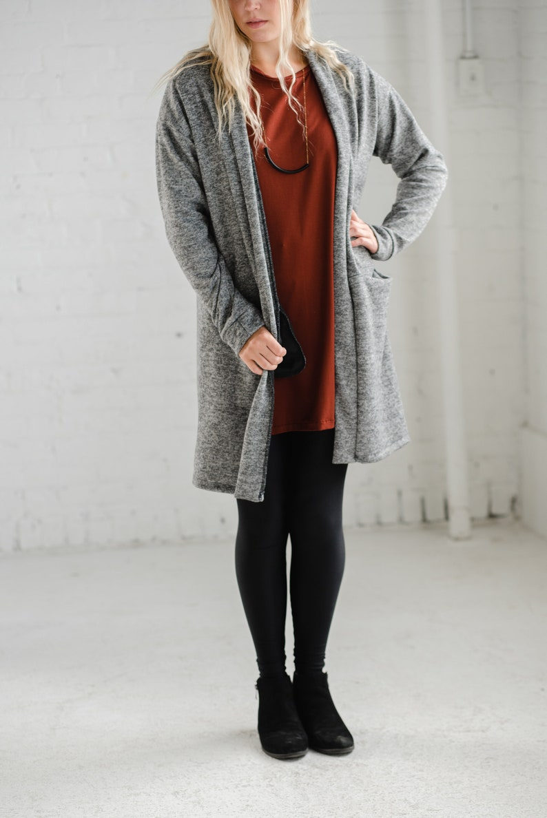 Dark Grey Pocket Cardigan Pocket Sweater  Made from Soft Knit Fabric  Made in CANADA