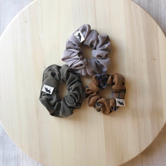 Scrunchies // Olive & Taupe // Set of Three MINI Scrunchies // Made in Canada