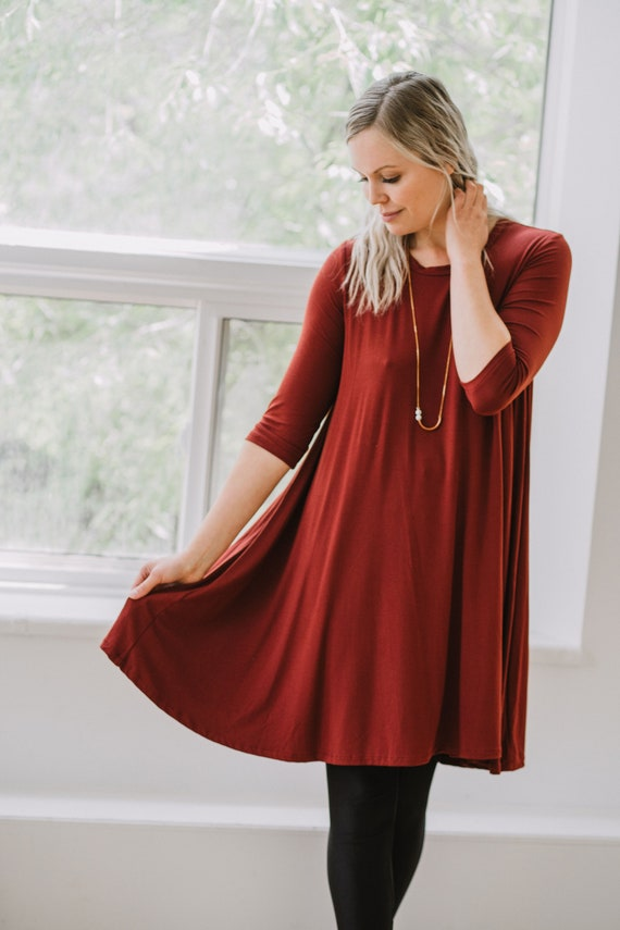 Rust Bamboo Swing Dress // Made from Bamboo Fabric // Made in CANADA