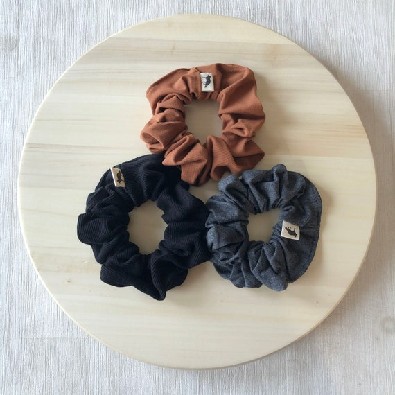 Scrunchies // Rust & Black // Set of Three Big Scrunchies // Made in Canada