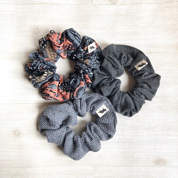 Scrunchies // Grey Skies // Set of Three Big Scrunchies // Made in Canada