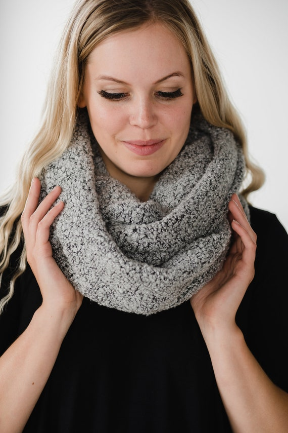 Grey Fuzzy Circle Scarf // Infinity Scarf // Made in Canada