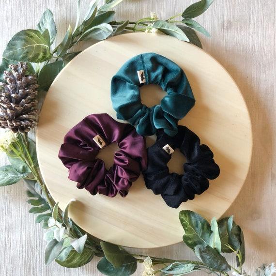 Scrunchies // Green & Burgundy // Winter Scrunchie Set // Set of Three Big Scrunchies // Made in Canada