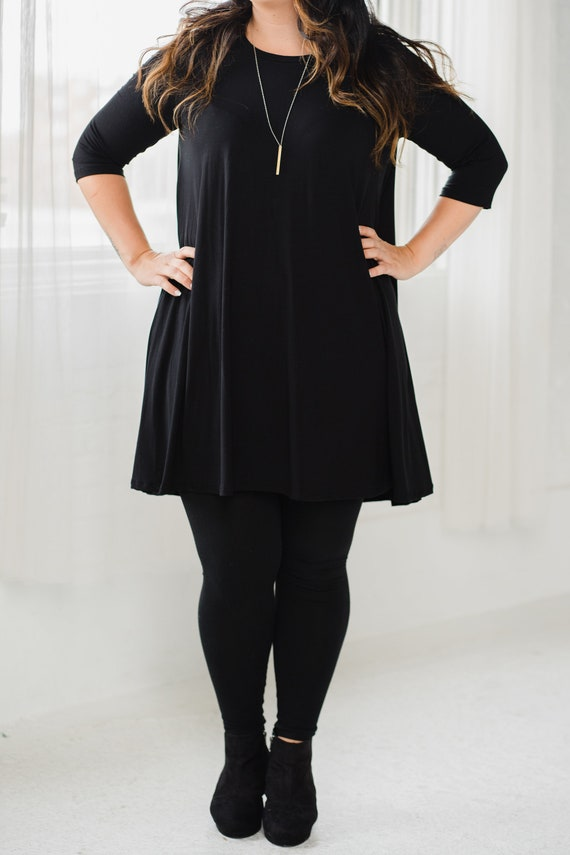 HOLD for Lynn *** Black Bamboo Swing Dress // Made from Bamboo Fabric // Made in CANADA