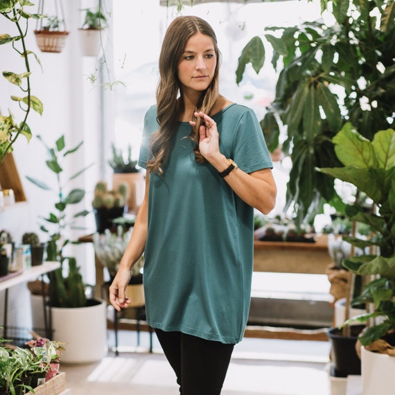 Blue Hazel Bamboo T-Shirt // Blue Dress// Black Tunic// Made from Bamboo Fabric // Made in CANADA