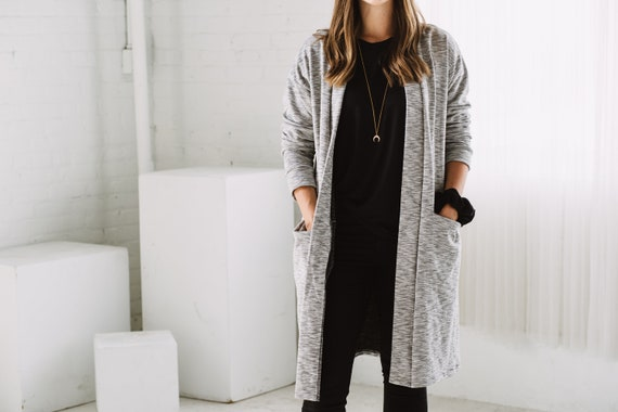 White Pocket Cardigan // Pocket Sweater // Made from Soft Knit Fabric // Made in CANADA