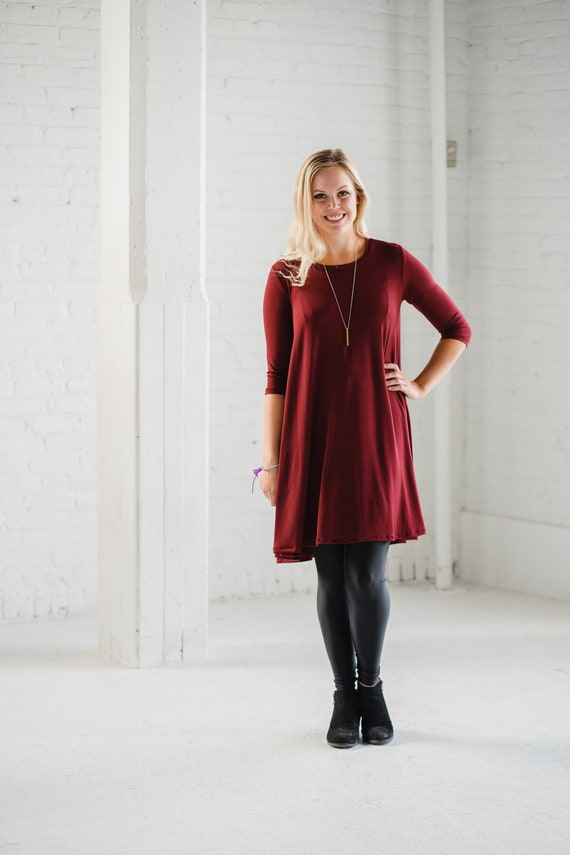 Burgundy Bamboo Swing Dress // Bamboo Dress// Burgundy Dress // Made from Bamboo Fabric // Made in CANADA