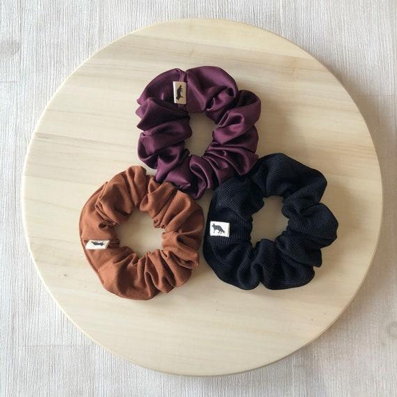 Scrunchies // Rust & Burgundy // Set of Three Big Scrunchies // Made in Canada