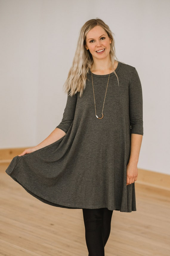 Grey Bamboo Swing Dress // Made from Bamboo Fabric // Made in CANADA