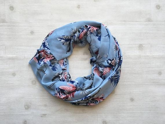 Blue Hawaiian Circle Scarf, Infinity Scarf, Women's infinity scarf