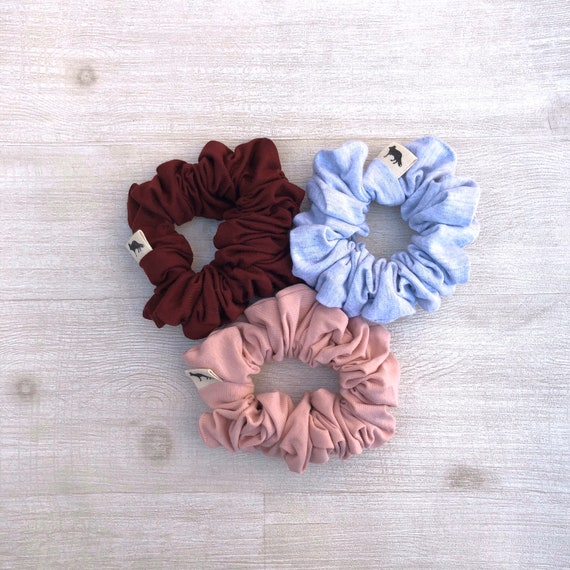 Scrunchies // Pink & Burgundy // Set of Three Big Scrunchies // Made in Canada