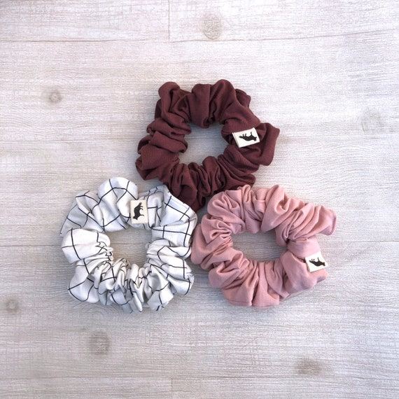 Scrunchies // Mauve & Pink // Set of Three Big Scrunchies // Made in Canada
