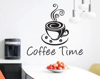 Coffee Time - Cafe, Espresso - Wall Decal, Vinyl, Sticker