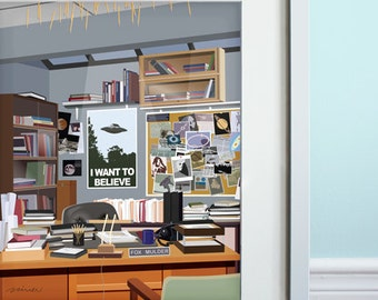 Mulder's Office - Art Print, The X-Files inspired, Science Fiction TV series