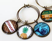How I Met Your Mother TV Sitcom Wine Charm Set of 6 - HIMYM, Unique Gift, Wine Lover, Party Decor, Glass, Antique Bronze