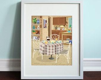 The Golden Girls Inspired Kitchen - Art Print, TV sitcom, Fan Art