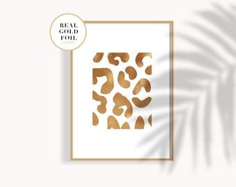 Vera Foglia Oro Stampa Leopardata Leopardato Oro Poster Oro Etsy