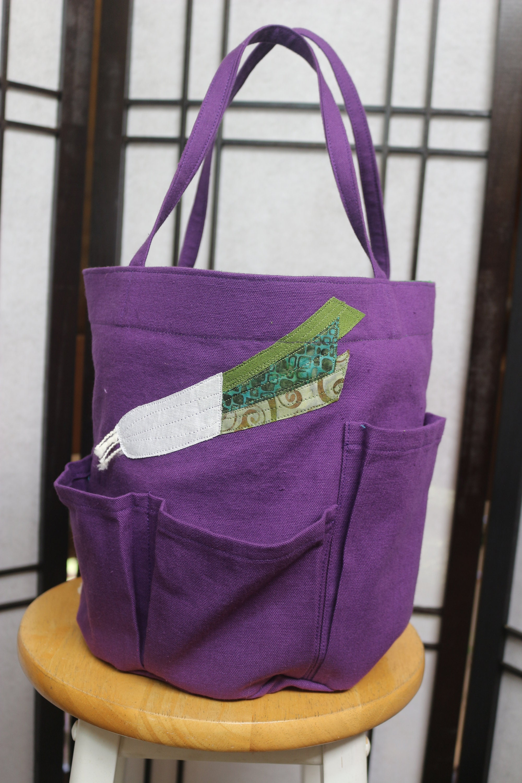 Sac seau jardin en denim denim denim violet avec applique de jardin poireau 673e7c