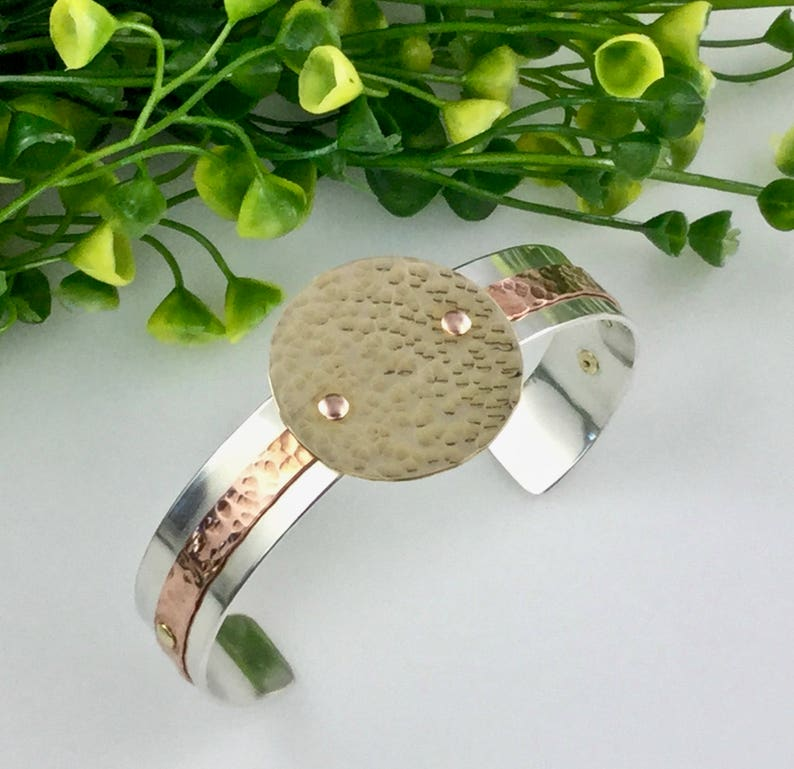 Sterling Silver Copper and Brass Hammered Metal Art Deco, Mixed Metals Cuff Bracelet Geometric Cuff Layered Metals Art Jewelry