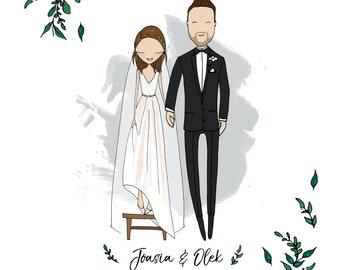 Custom illustrated couple, Quirky wedding invitations, personalised wedding invitations, portrait illustration, bespoke invites