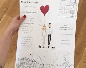 Personalised wedding invitations, portrait illustration, quirky wedding invitations, illustrated love story
