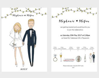 Wedding invitations with QUIRKY TIMELINE on the back. Custom wedding portrait, wedding day planner, digital file